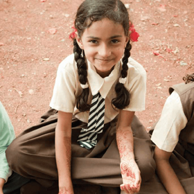 This young girl is one of the 1.4 million children who receive lunch daily at school because of the efforts of the Indian Akshaya Patra. (Photo courtesy of Akshaya Patra)