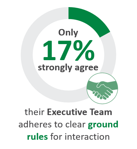Only 17% strongly agree their Executive Team adheres to clear ground rules for interaction