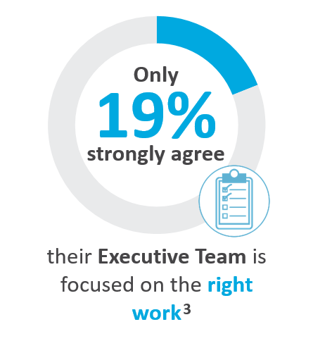 Only 19% strongly agree their Executive Team is focused on the right work