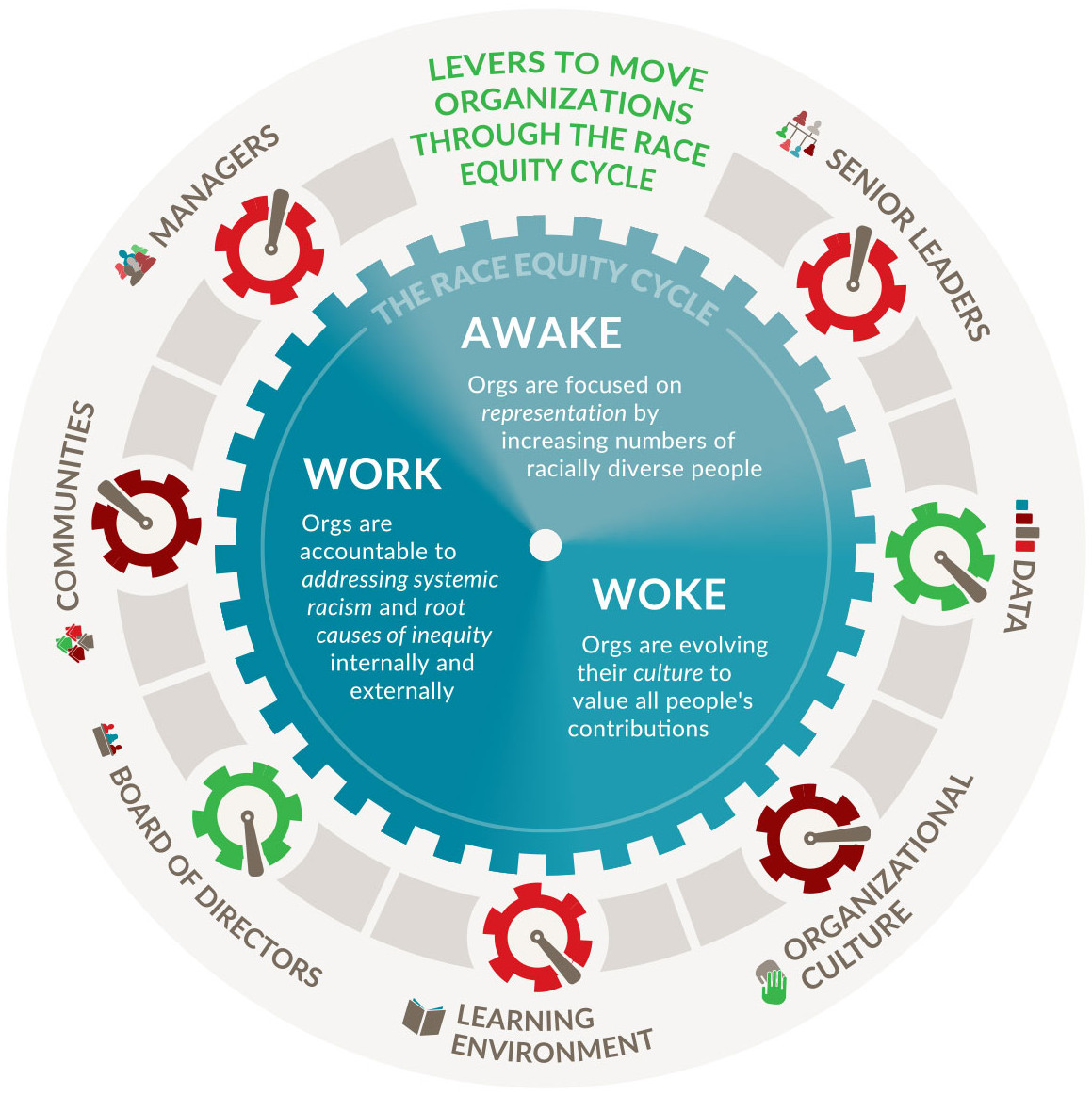 Levers to Move Organizations Through The Race Equity Cycle